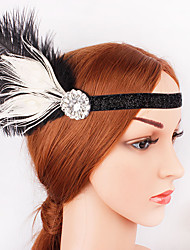 cheap -The Great Gatsby 1920s The Great Gatsby Costume Women's Flapper Headband Head Jewelry Black & White Vintage Cosplay Party Prom Festival