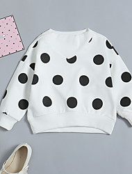 abordables -bébé Fille Basique / Chic de Rue Quotidien / Sortie Couleur Pleine / Points Polka Manches Longues Longue Coton / Spandex Chemisier Blanc