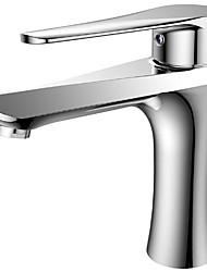 저렴한 -욕실 싱크 수도꼭지 - 콘템포라리 크롬 도자기 발브 Bath Shower Mixer Taps
