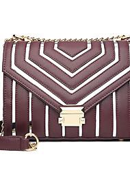 preiswerte -Damen Taschen PU Umhängetasche Knöpfe / Reißverschluss Geometrische Muster Schwarz / Rote / Rosa