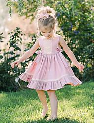 Χαμηλού Κόστους -Μωρό Κοριτσίστικα Βασικό Μονόχρωμο Αμάνικο Βαμβάκι Φόρεμα Ανθισμένο Ροζ