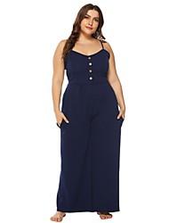 Недорогие -Жен. Большие размеры Тонкие Из двух частей Платье - Однотонный, Кулиска V-образный вырез Макси