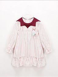 お買い得  -幼児 女の子 甘い / かわいいスタイル ストライプ / カラーブロック 長袖 ドレス ルビーレッド