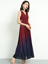 cheap -A-Line V Neck Long Length Chiffon Bridesmaid Dress with Pleats by LAN TING Express