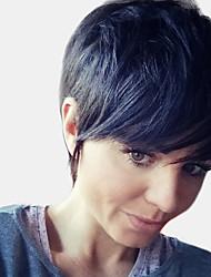 billige -Human Hair Capless Parykker Ekte hår Naturlig rett Pixiefrisyre Stilig Design / Nytt Design / Kul Svart Kort Lokkløs Parykk Dame / Naturlig hårlinje