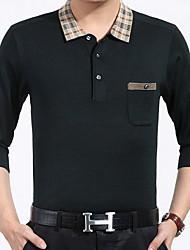 baratos -Homens Camiseta Patchwork, Sólido