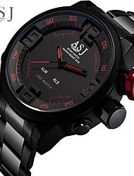 Недорогие -ASJ Муж. электронные часы Японский Цифровой Нержавеющая сталь Черный 100 m Защита от влаги Будильник Хронометр Аналого-цифровые Мода - Белый Красный Один год Срок службы батареи