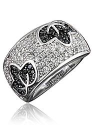 baratos -Mulheres Claro Zircônia Cubica Clássico Anel Banhado a Ouro 18K Imitações de Diamante Formato de Folha Estiloso Luxo Romântico Fashion Elegante Anéis Jóias Prata Para Festa Noivado Presente Diário