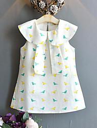 Χαμηλού Κόστους -Παιδιά Κοριτσίστικα Ενεργό / Κομψό στυλ street Πουλί Στάμπα Αμάνικο Ρεϊγιόν Φόρεμα Λευκό