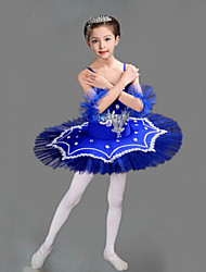 cheap -Kids' Dancewear / Ballet Outfits / Tutus & Skirts Girls' Training / Performance Polyester / Mesh Embroidery / Split Joint / Crystals / Rhinestones Sleeveless Dress / Bracelets