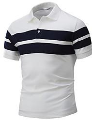 Недорогие -Муж. Polo Рубашечный воротник Контрастных цветов Белый / С короткими рукавами / Лето