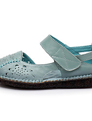 ราคาถูก -สำหรับผู้หญิง แน๊บป้า Leather ฤดูใบไม้ผลิ รองเท้าส้นเตี้ยทำมาจากหนังและรองเท้าสวมแบบไม่มีเชือก ส้นแบน สีเทา / สีเหลือง / ฟ้า