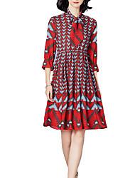 저렴한 -여성용 우아함 A 라인 드레스 - 플로럴, 레이스 -업 프린트 무릎 위