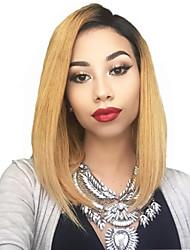 olcso -Remy haj Csipke Paróka Bob frizura Rövid Bob Rihanna stílus Brazil haj Egyenes Szőke Paróka 130% Haj denzitás baba hajjal Ombre haj Sötét hajtő Természetes hajszálvonal Szőke Női Rövid Emberi hajból