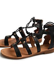 baratos -Mulheres Microfibra Verão Sandálias Sem Salto Preto