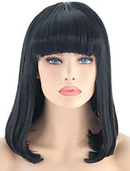 abordables -Perruque Lace Front Synthétique Droit Noir Bob Coupe Carré Noir Naturel Cheveux Synthétiques 14 pouce Femme Ajustable / Résistant à la chaleur / Homme Noir Perruque Court Lace Frontale