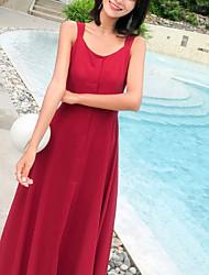 cheap -Women's Elegant Swing Dress - Solid Colored Patchwork Wine M L XL