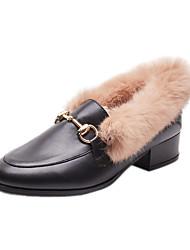 tanie -Damskie PU Wiosna Mokasyny i buty wsuwane Płaski obcas Czarny