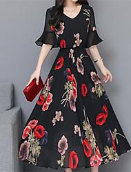 cheap -Women's Swing Dress - Floral Black Red Navy Blue XL XXL XXXL