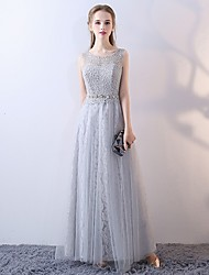 cheap -A-Line Scoop Neck Tulle Bridesmaid Dress with Lace by LAN TING Express