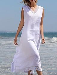 preiswerte -frauen asymmetrisch a line dress v neck white m l xl xxl