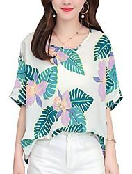 billiga -kvinna t-shirt - blommig rund hals