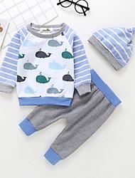 billige -Baby Gutt Aktiv / Grunnleggende Trykt mønster Trykt mønster Langermet Normal Bomull Tøysett Lyseblå
