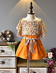 זול -סט של בגדים שרוולים קצרים גיאומטרי בנות ילדים