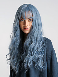cheap -Synthetic Wig Body Wave Blue With Bangs Purple / Blue Black / Sapphire Blue Synthetic Hair 24 inch Women's Elastic / Synthetic / Easy dressing Blue Wig Long Capless HAIR CUBE / Ombre Hair