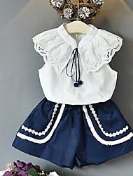 זול -סט של בגדים ללא שרוולים אחיד בנות ילדים