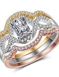 billige -Dame Hvid Syntetisk Diamant Ring Set Guldbelagt Rødguldbelagt Unikt design Europæisk Moderinge Smykker Regnbue Til Fest Gave Stævnemøde 6 / 7 / 8 / 9 / 10 3stk