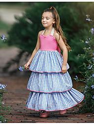 お買い得  -子供 女の子 甘い 日常 チェック レース ノースリーブ マキシ ポリエステル ドレス ブルー