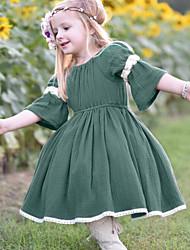 billige -Baby Jente Aktiv / Gatemote Lapper Drapering / Lapper Halvlange ermer Rayon Kjole Grønn