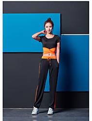 저렴한 -스포츠 댄스웨어 의상 / 요가 여성용 트레이닝 / 성능 폴리에스테르 스플리트 조인트 짧은 소매 높음 탑 / 팬츠