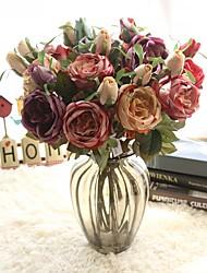 abordables -Flores Artificiales 1 Rama Clásico Europeo Rosas Flores eternas Flor de Mesa