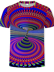 Недорогие -Муж. С принтом Футболка Круглый вырез Классический / преувеличены Контрастных цветов / 3D Цвет радуги / С короткими рукавами