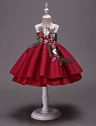 abordables -Enfants / Bébé Fille Actif / Doux Fleur Brodée Sans Manches Mi-long Coton / Polyester Robe Rouge