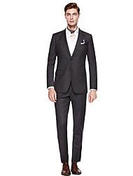 levne -Černá / Tmavě šedá / Tmavě námořnická Jednobarevné Standard Polyester / Směs vlny Oblek - Otevřené Jednořadové se dvěma knoflíky