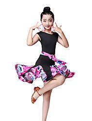 economico -Balli latino-americani / Abbigliamento da ballo per bambini Vestiti Da ragazza Prestazioni Nylon A fantasia / stampa / Con ruche / Più materiali Senza maniche Alto Abito