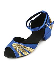 Недорогие -Жен. Танцевальная обувь Сатин Обувь для латины На каблуках Толстая каблук Черный / Красный / Синий / Выступление / Тренировочные