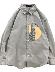 cheap -men's loose shirt - animal / solid colored shirt collar