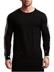 economico -T-shirt Per uomo Monocolore Rotonda