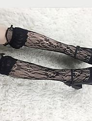 baratos -Fantasias Uniforme JK Mulheres Adulto Princesa Collants Feminino Meias e Meias-Calças Branco / Preto Sólido Renda Acessórios Lolita