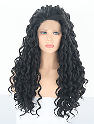 cheap -Synthetic Lace Front Wig Deep Curly Black Free Part Natural Black Synthetic Hair 24 inch Women's Adjustable / Heat Resistant / Women Black Wig Long Lace Front