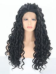 Χαμηλού Κόστους -Συνθετικές μπροστινές περούκες δαντέλας Deep Curly Μαύρο Ελεύθερο μέρος Μαύρο Συνθετικά μαλλιά 24 inch Γυναικεία Ρυθμιζόμενο / Ανθεκτικό στη Ζέστη / Γυναικεία Μαύρο Περούκα Μακρύ Δαντέλα Μπροστά