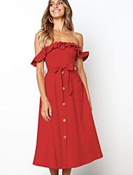 preiswerte -Midi-Swing-Kleid für Damen ab Schulter khaki pink rot s m l xl