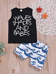levne -Dítě Chlapecké Aktivní / Základní Proužky / Tisk Tisk Bez rukávů Standardní Standardní Bavlna Sady oblečení Černá