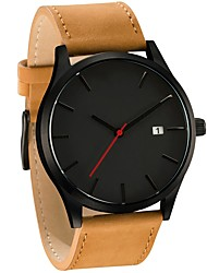 cheap -Men's Dress Watch Quartz Quilted PU Leather Black / Brown Calendar / date / day Large Dial Analog Casual Fashion - Brown Black / White Golden+Black One Year Battery Life