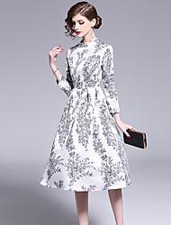 זול -גזרת A עם תכשיטים באורך הקרסול סאטן נמתח / ג'רסי שמלה עם דוגמא \ הדפס על ידי LAN TING Express