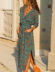 Недорогие -Жен. Хлопок Прямое Платье V-образный вырез Средней длины